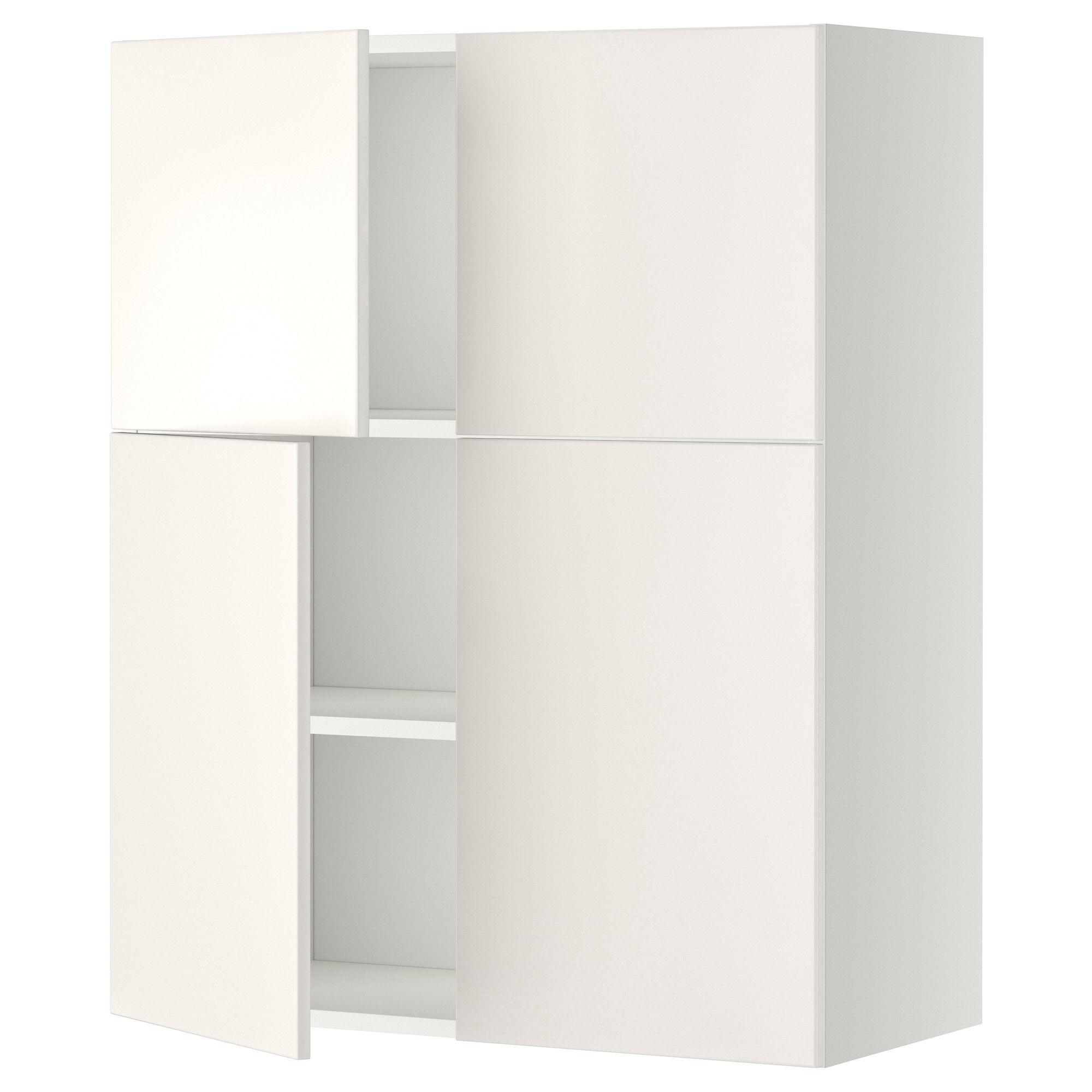 METOD Vægskab med hylder/4 døre - hvid, Veddinge hvid - IKEA
