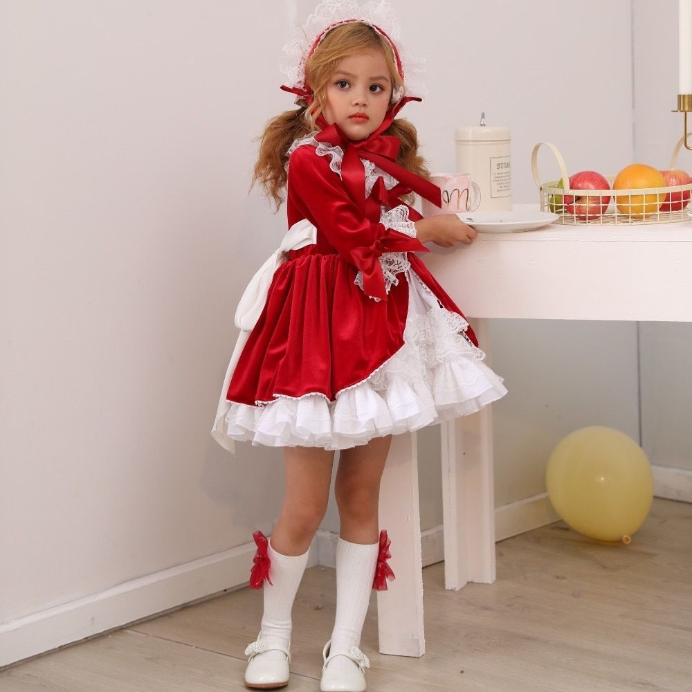4PCS Spain Dress Girls Royal Costumes Kids Princess Wedding Birthday Dresses Party Lace Robe ... #babygirlpartydresses