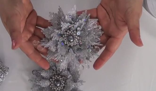 For today's Tip of the Day, Marina from Mon Ami Gabby showcases their lovely snowflake flower created from silver sequin trim. Marina's step-by-step demonstration shows how easy it is to create this very beautiful flower. We'd like to thank Marina for her tutorial and we invite you to visit monamigabby.com for more fabulous projects!