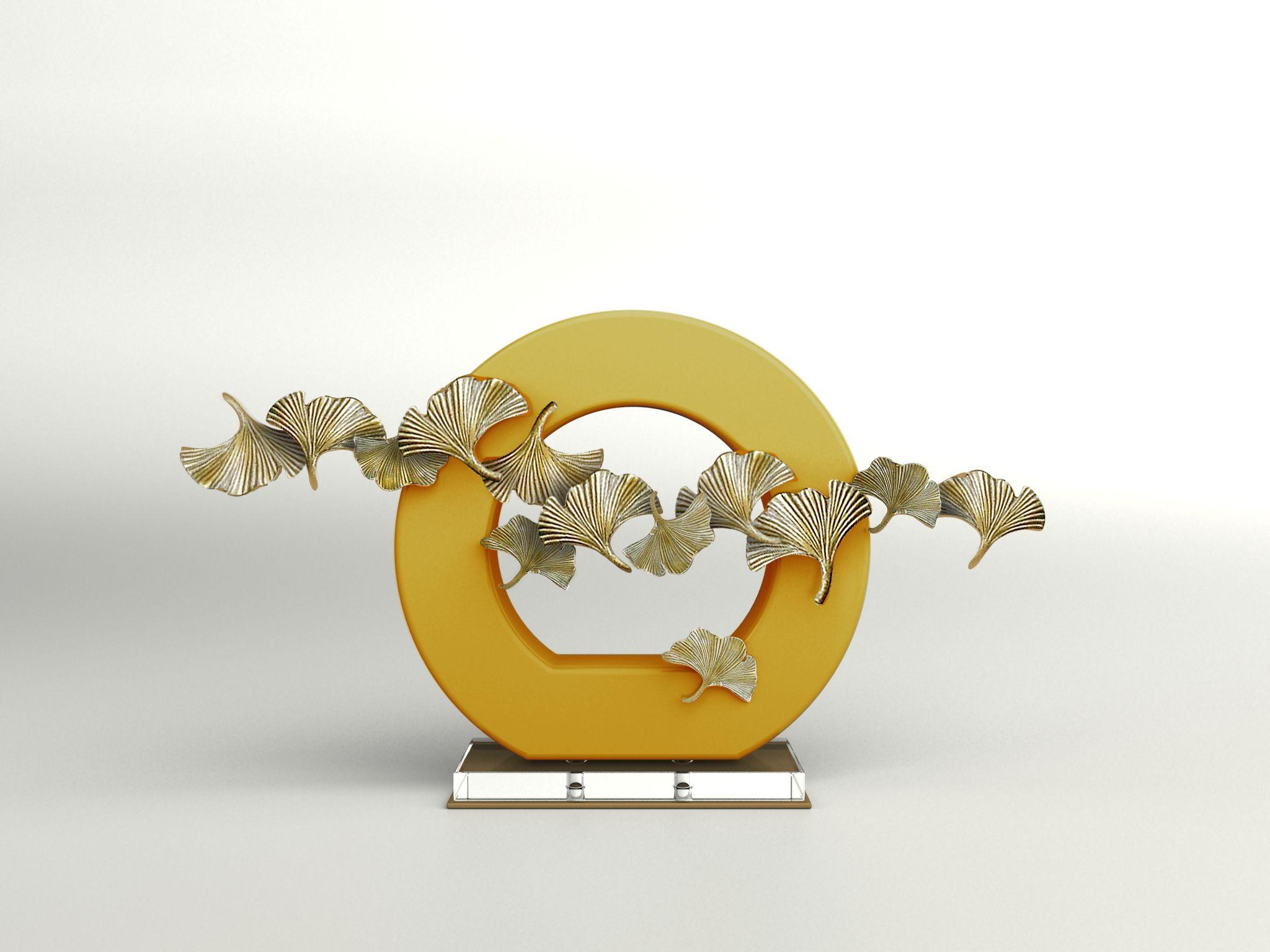 ceramic sculpture deco branch bird transparent acrylic metal screen ...