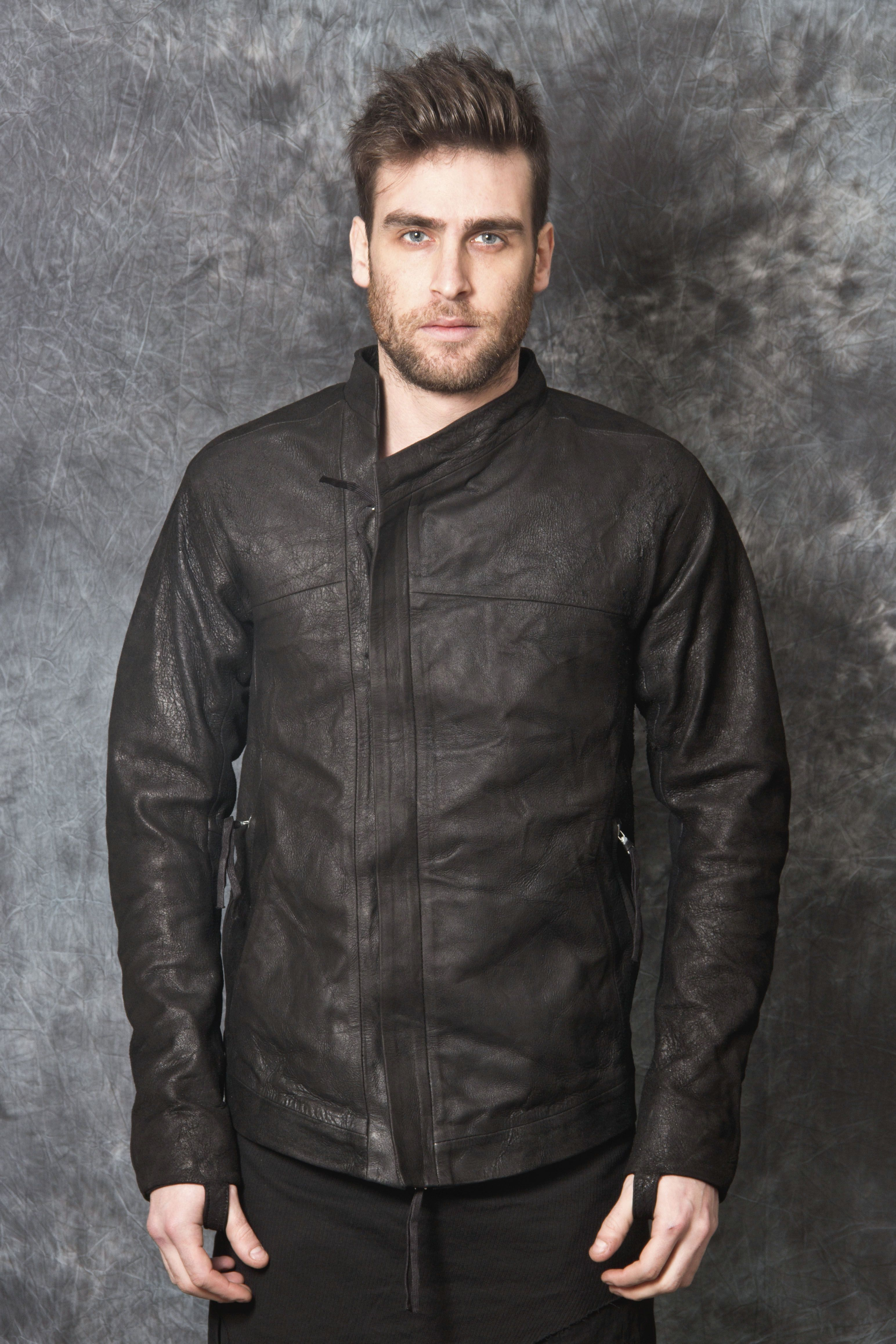 Bbs zip up leather jacket oiled and washed