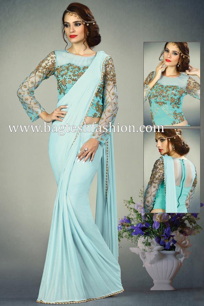 6f815c901c Stylish Sky Blue Shimmer Lycra Saree   Wedding sarees in 2019 ...