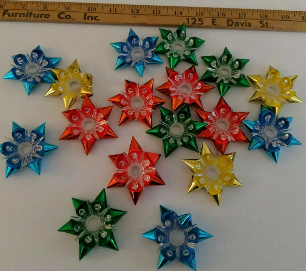 Vintage Reflector Christmas Bows Starburst Plastic Christmas Light