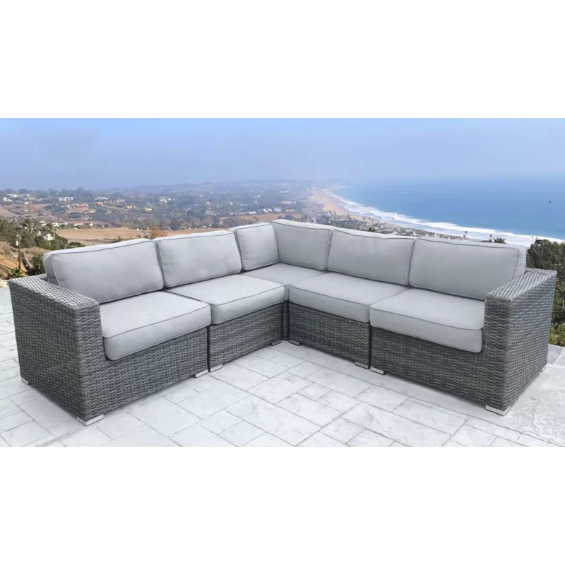 Sol 72 Outdoor Eldora Patio Sectional With Cushions Reviews Wayfair In 2020 Patio Sectional Outdoor Sectional Sofa Patio Daybed