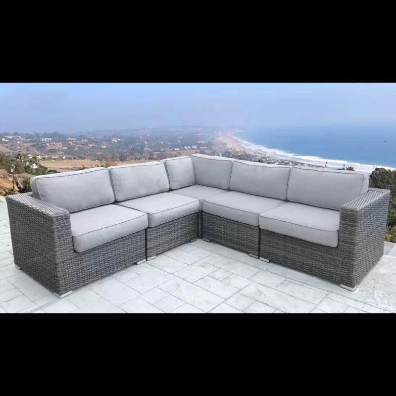Latitude Run Nolen Patio Sectional With Cushions Reviews Wayfair Patio Sectional Wicker Patio Sectional Gray Patio Furniture