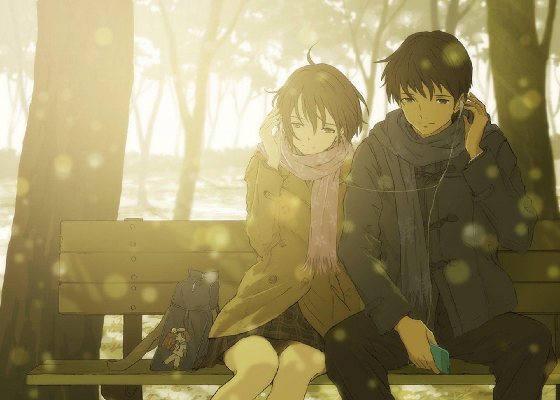 Anime Love Couple Music Headphone Tree Winter Sunshine Romantic 1920x1370 Romantic Anime Anime Wallpaper Anime Love Couple