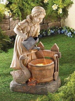 Girl Duck Yard Statue Art Garden Light Water Fountain 400 x 300