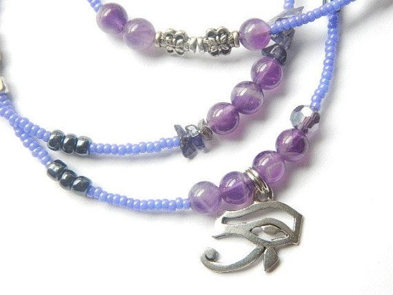 Eye of Horus Amethyst Waist Beads by WrapandSoul on Etsy