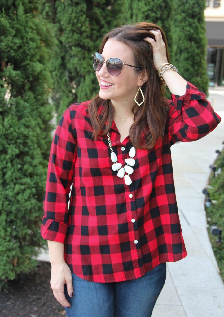 cdcdbaf7002 LadyinViolet wears the Kendra Scott Harlie Necklace and an Old Navy Classic  Flannel shirt in buffalo plaid.