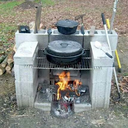 Diy Outdoor Cooking Fireplace Made With Concrete Blocks Yard