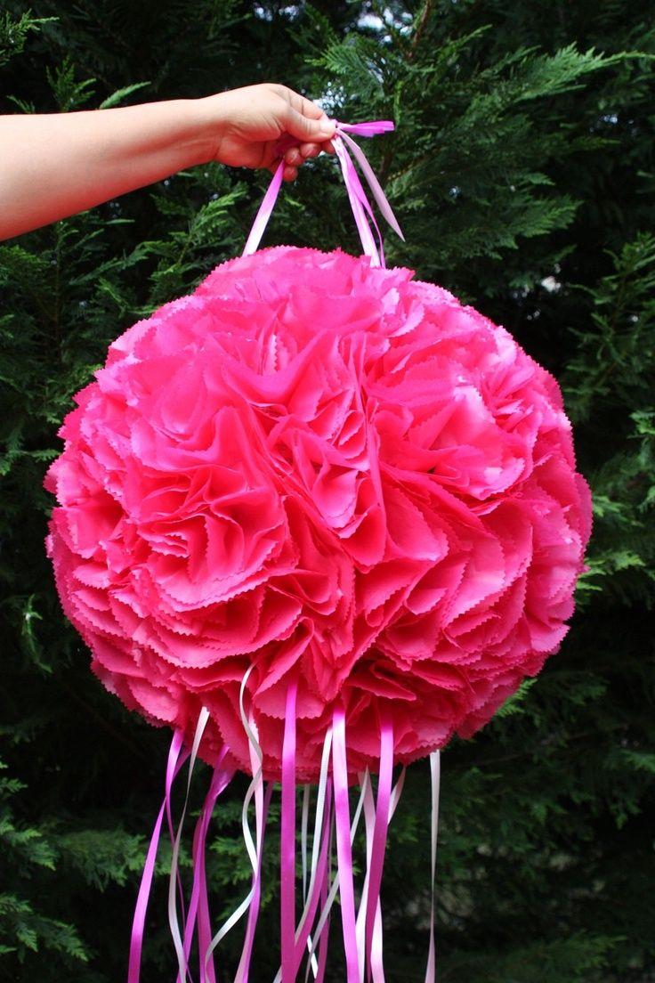Wedding Pinata Hot Pink Flower Ball Pinata Pomander Kissing Ball