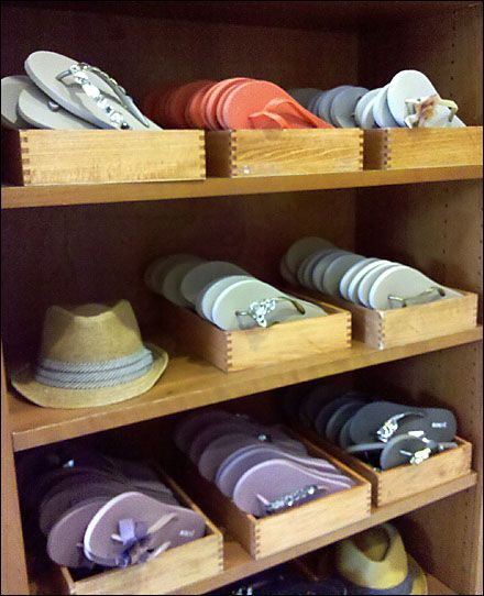 Wooden Tray used to display flip flops...  We can do custom sizes! JBrothersandCompany.com