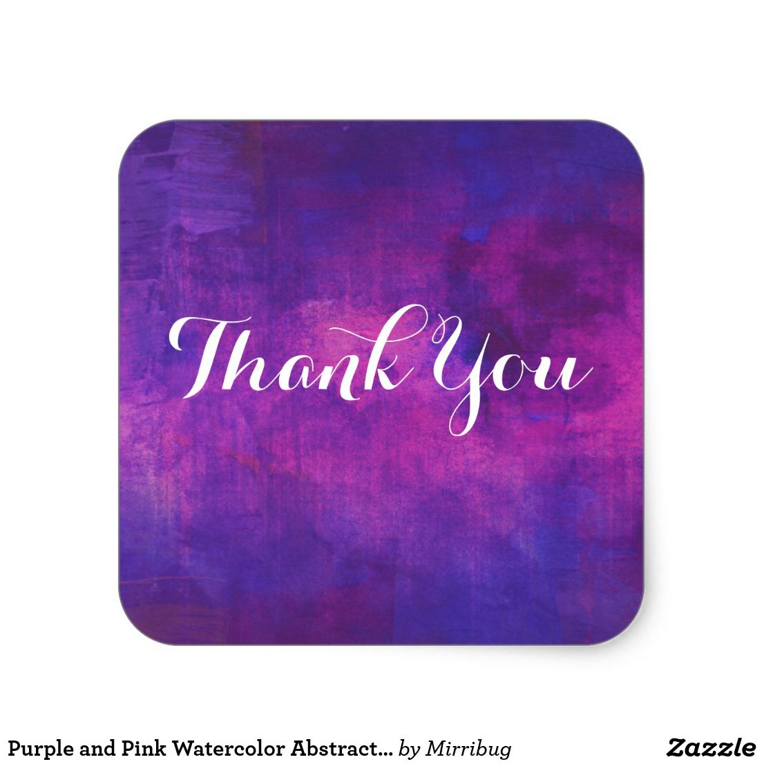 Purple And Pink Watercolor Abstract Thank You Square Sticker Zazzle Com In 2020 Pink Watercolor Abstract Watercolor Thank You Pictures