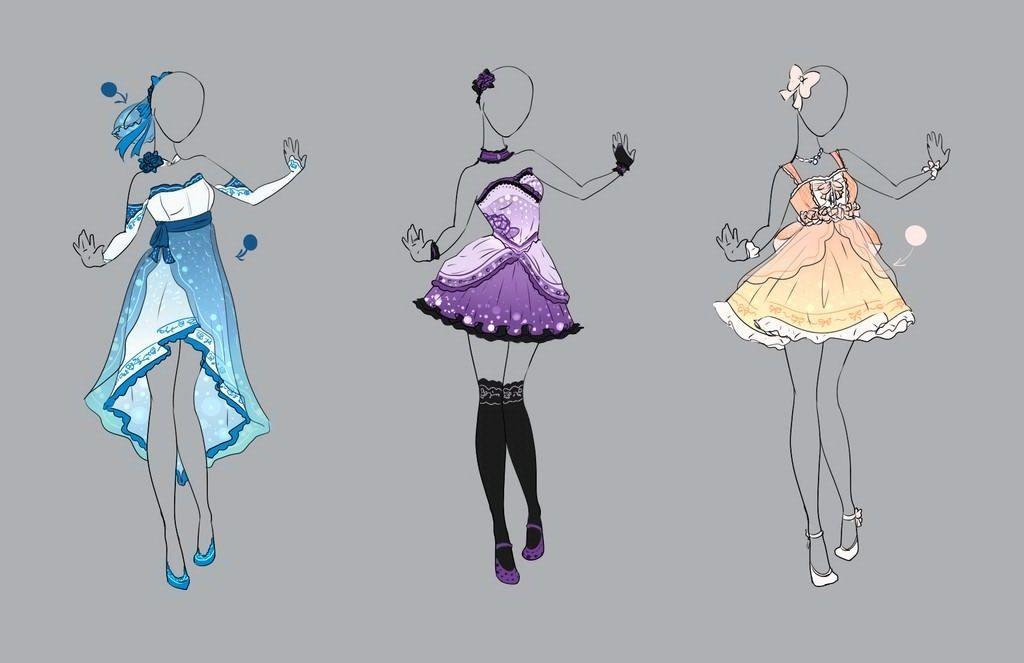 Картинки платья и костюмы для срисовки