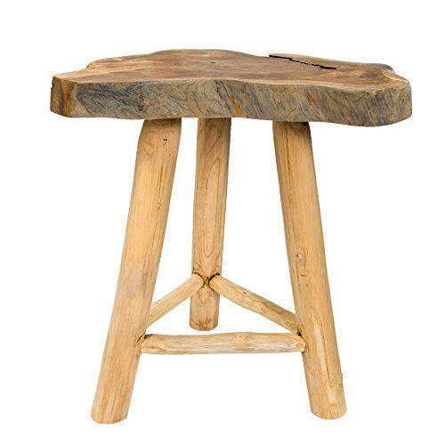 Massiver Teak Baumscheiben Beistelltisch ROOT 45 cm Couchtisch aus Echtholz mit Jahresringen