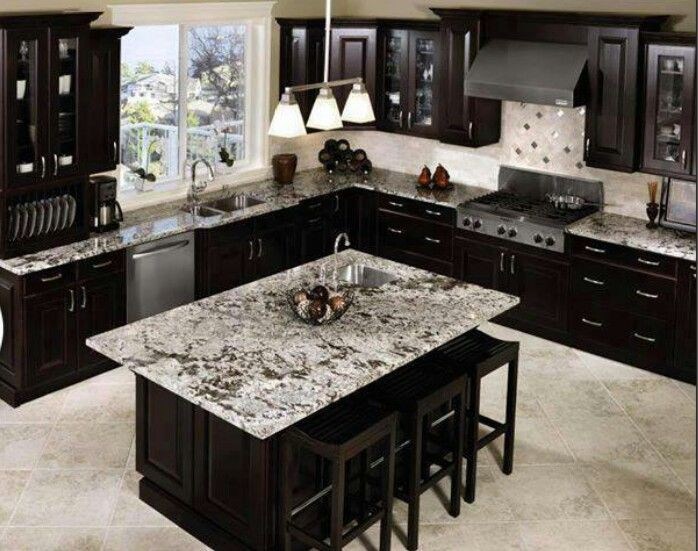Love the marble countertops in this kitchen!