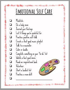 Self Care Checklist   Self care activities, Coping skills ...