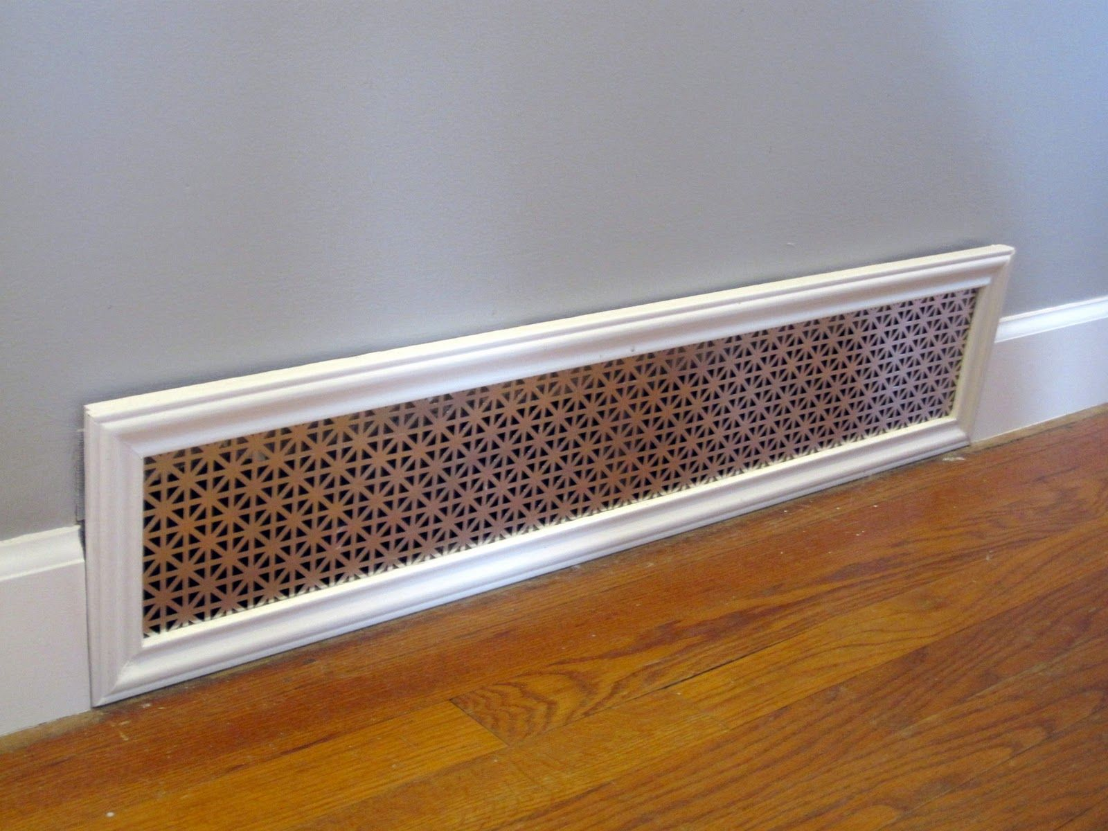 How to cut base molding around wall vent - Decorative Return Air Vent Cover Nicely Framed And Blends With Baseboard