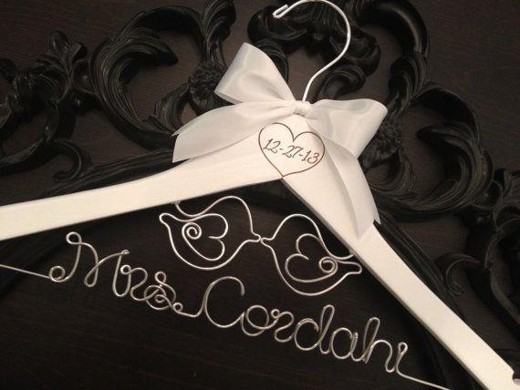 Wedding Hanger / LOVE BIRDS Bridal Hanger / Love Birds Wedding / Mrs. Hanger / Rustic Wedding Hanger / Personalized Hanger / Brides Hanger on Etsy, $40.00