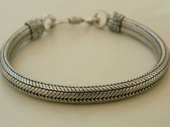 Fine Indian Silver Antique Snake Chain From