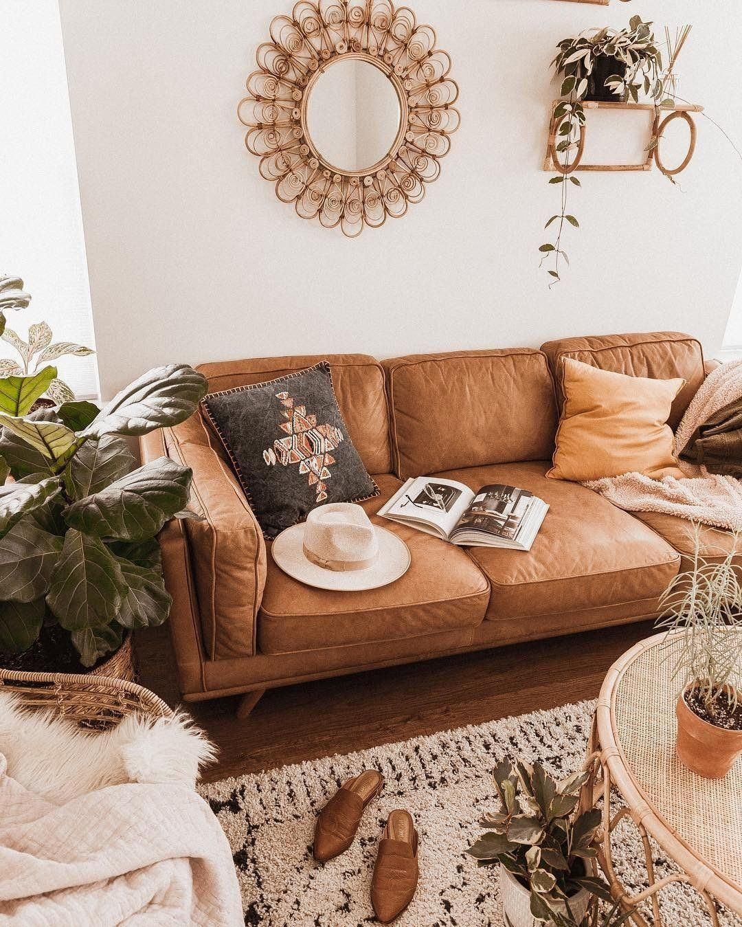 tan leather sofa in honey oak wood 3 seat article timber modern rh pinterest com