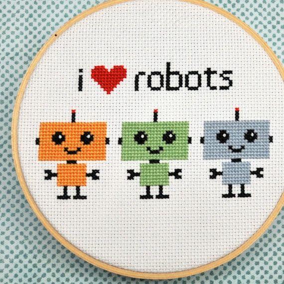 Robot Cross Stitch Pattern, I Love Robots Instant Download | Punto ...