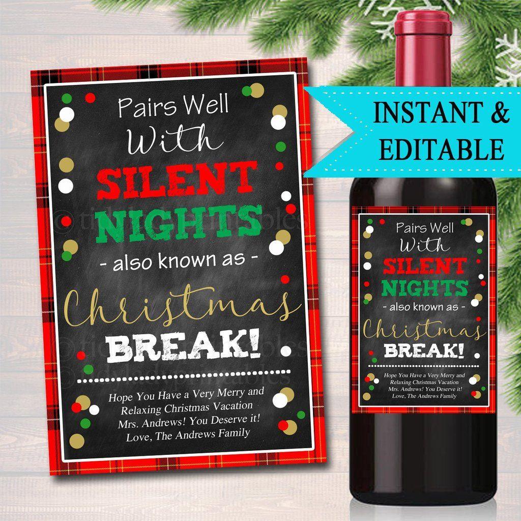 Funny Teacher Christmas Wine Label Gift, Printable Secret ...