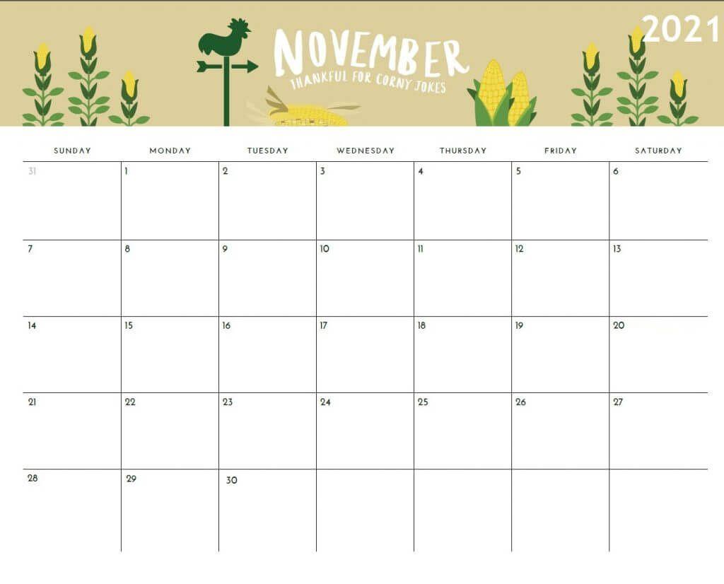 November 2021 Calendar Printable Holiday Calendar Calendar Monthly Calendar