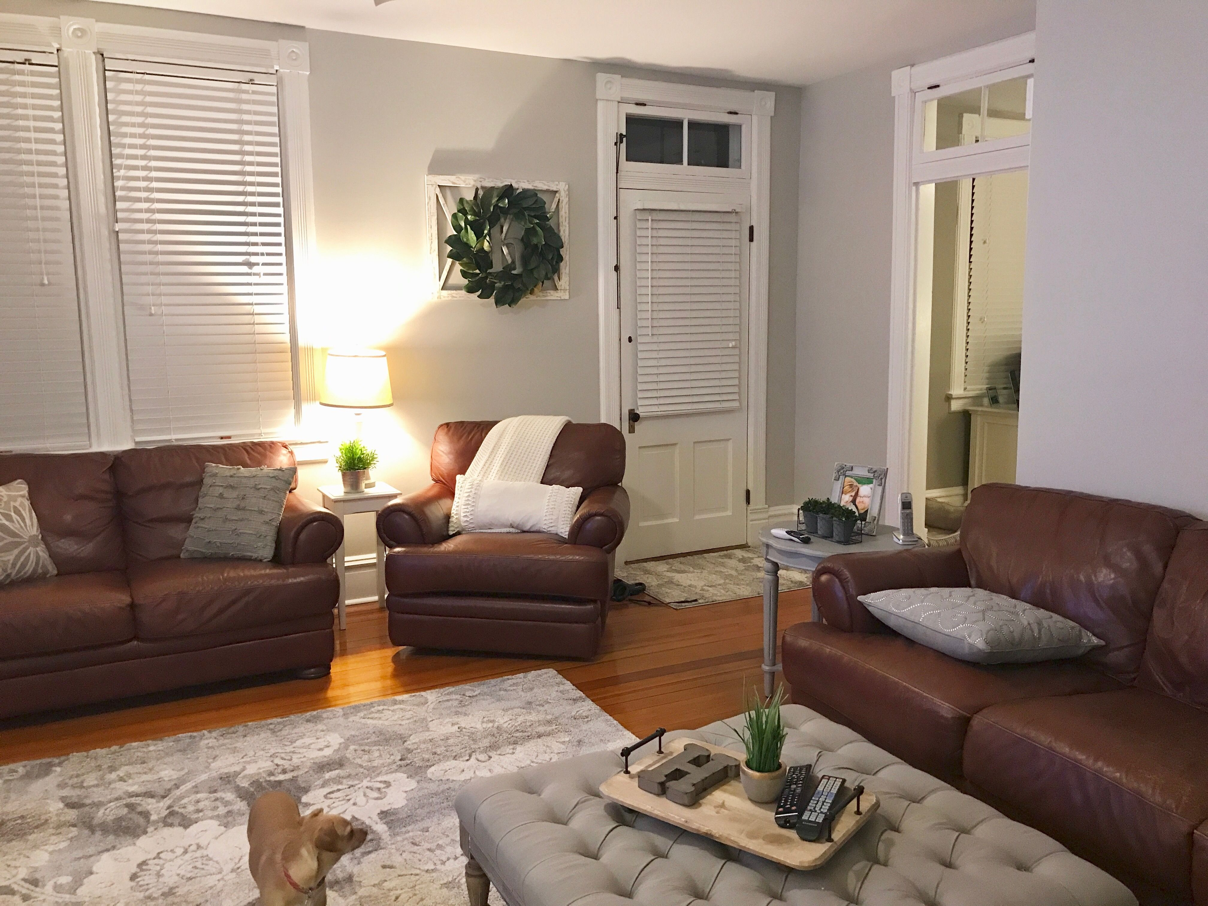 Sherwin Williams Repose Grey Paint Brown Leather Couch Recliner And Love Seat Boxwood Wreath An Brown Couch Living Room Living Room Grey Brown Living Room