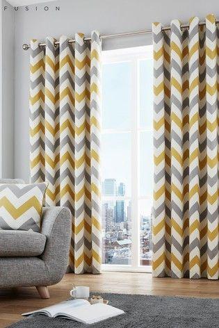 Ochre Fusion Chevron Eyelet Curtains Grey Curtains Living Room Yellow Curtains Living Room Living Room Decor Curtains