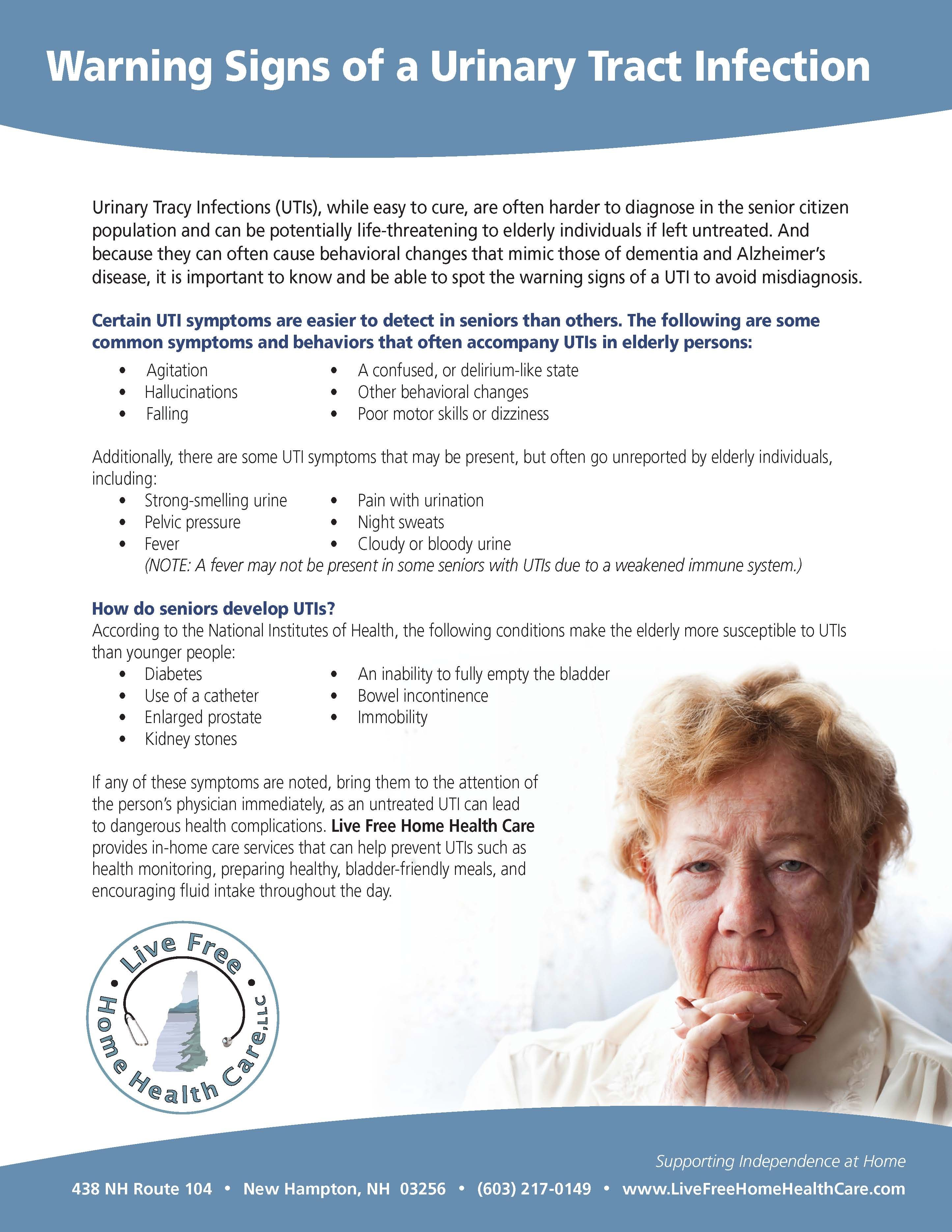 Warning Signs of a Urinary Tract Infection #UTI #eldercare