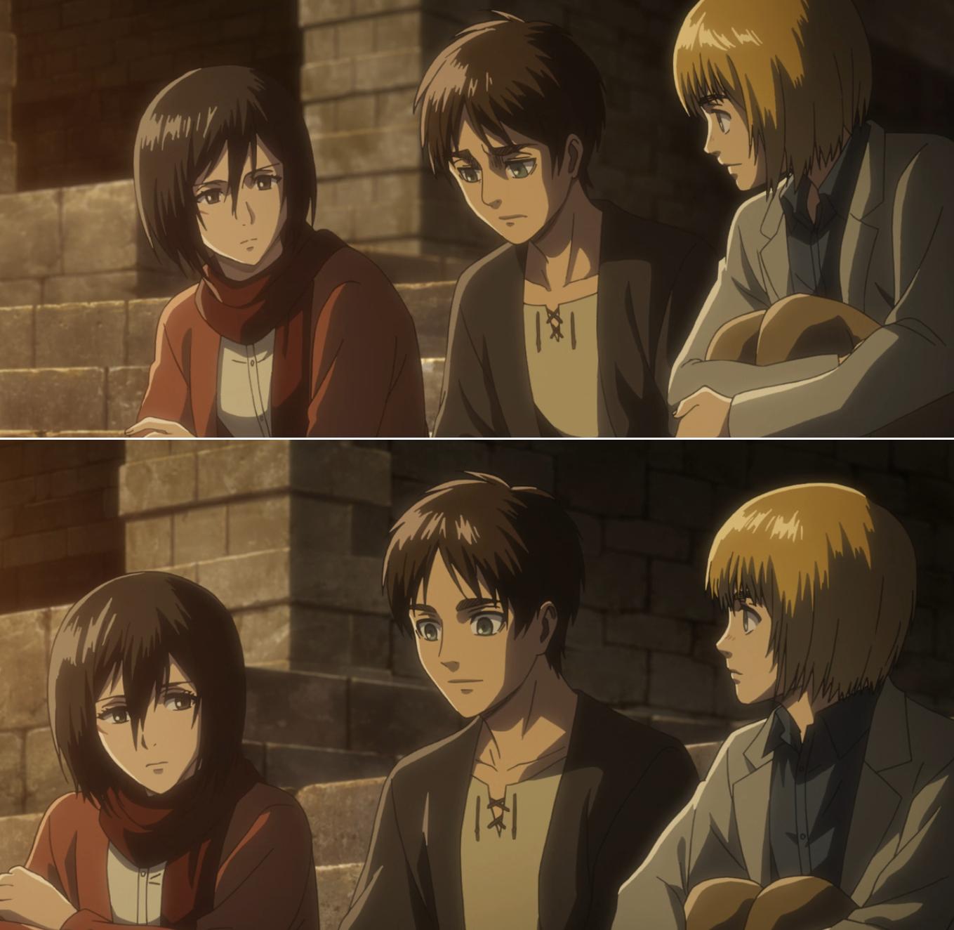 Eren Armin and Mikasa AoT season 3 Attack on titan