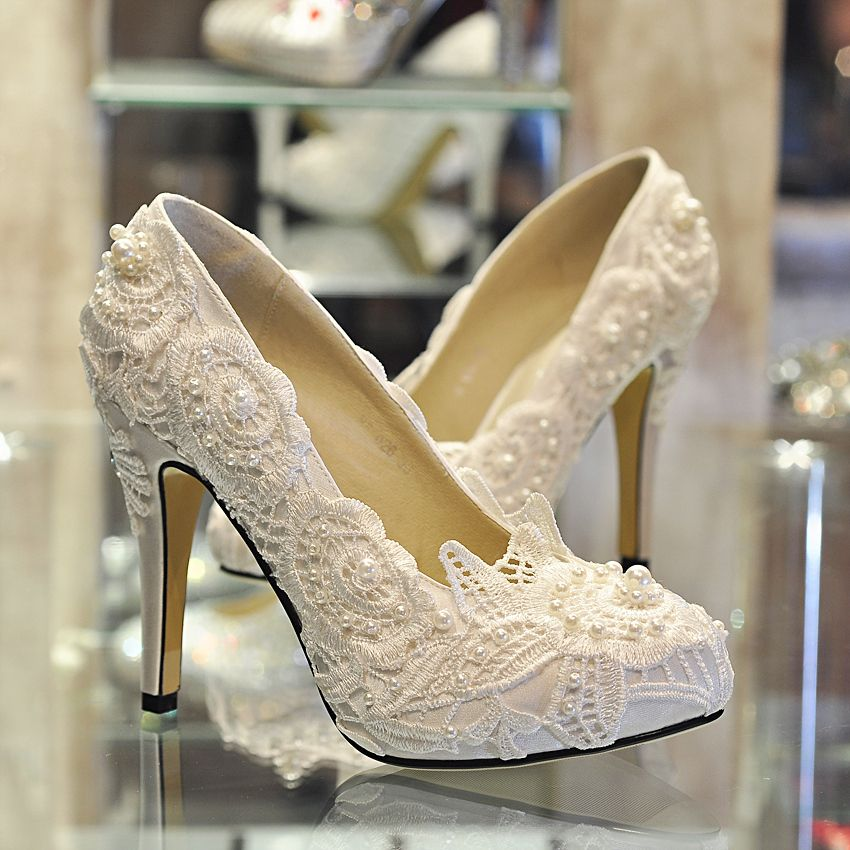 Bridal Shoes High Heels: ... White Lace Pearl Women's