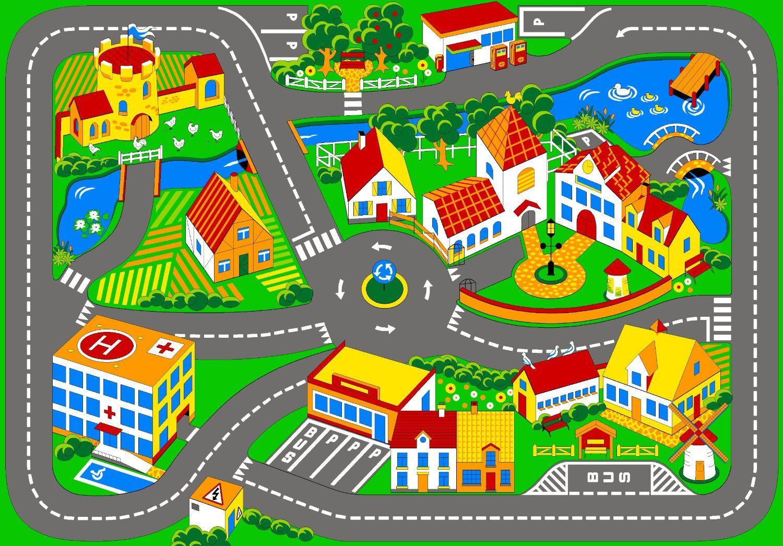 Resultado de imagen para alfombras infantiles pista de - Alfombra circuito coches ...