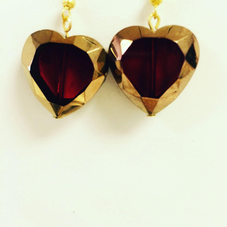 Glass heart shaped earrings by EcclecticSouls on Etsy