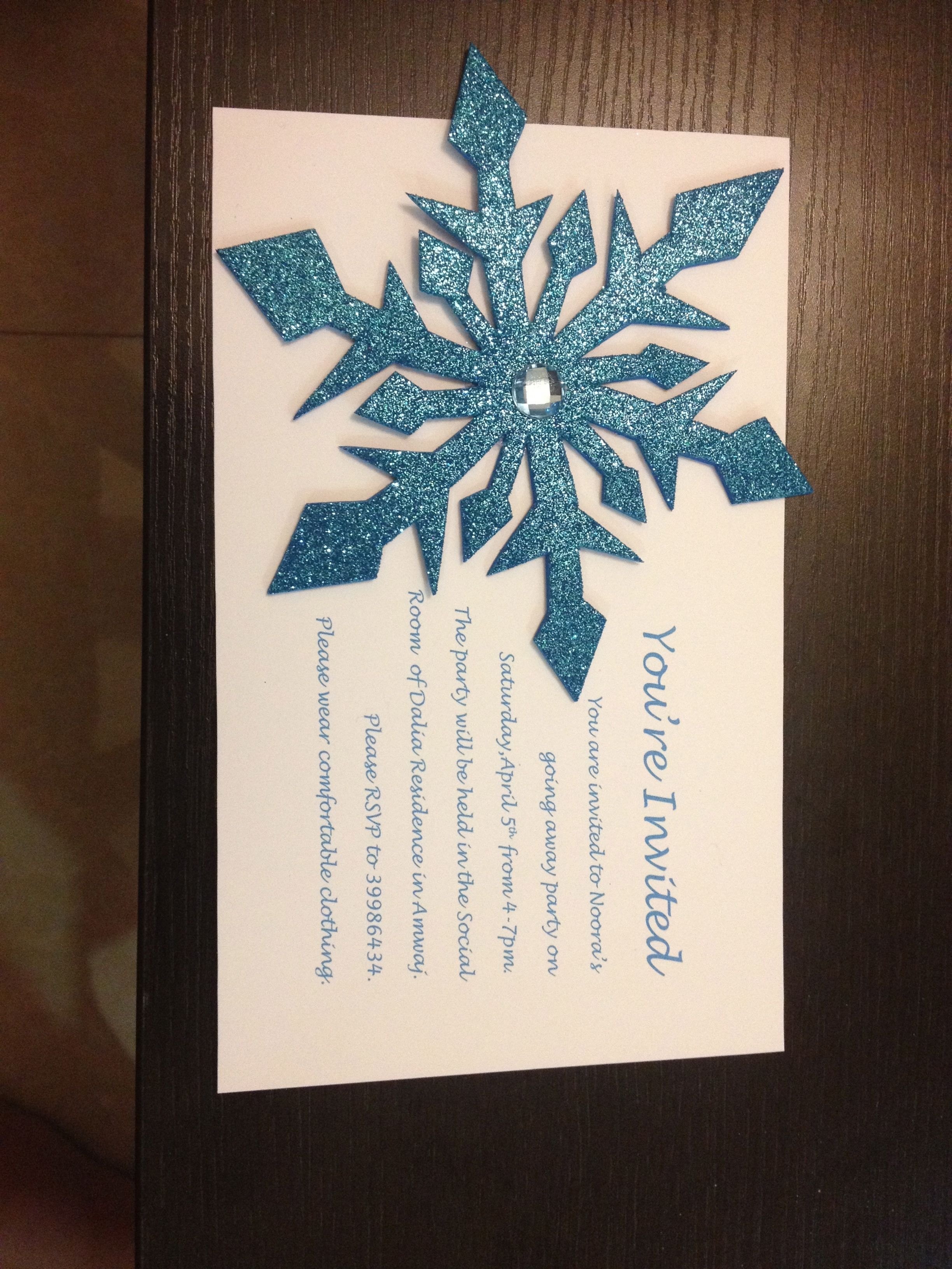 Frozen party invitations I made these for my daughters going away – Snowflake Party Invitations