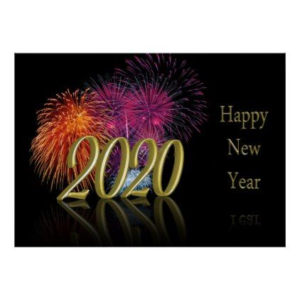 Gold 2020 Happy New Year Fireworks Poster | Zazzle.com