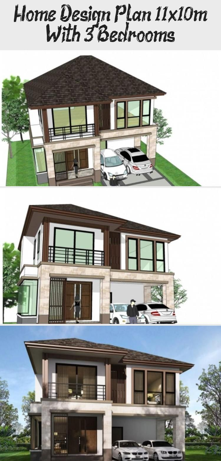 Home Design Plan 11x10m With 3 Bedrooms In 2020 Modern House Exterior Modern Architecture House Exterior House Renovation