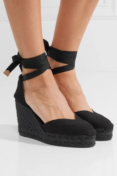 ae04578a8 Castañer - Chiara 80 canvas wedge espadrilles | Products | Black ...