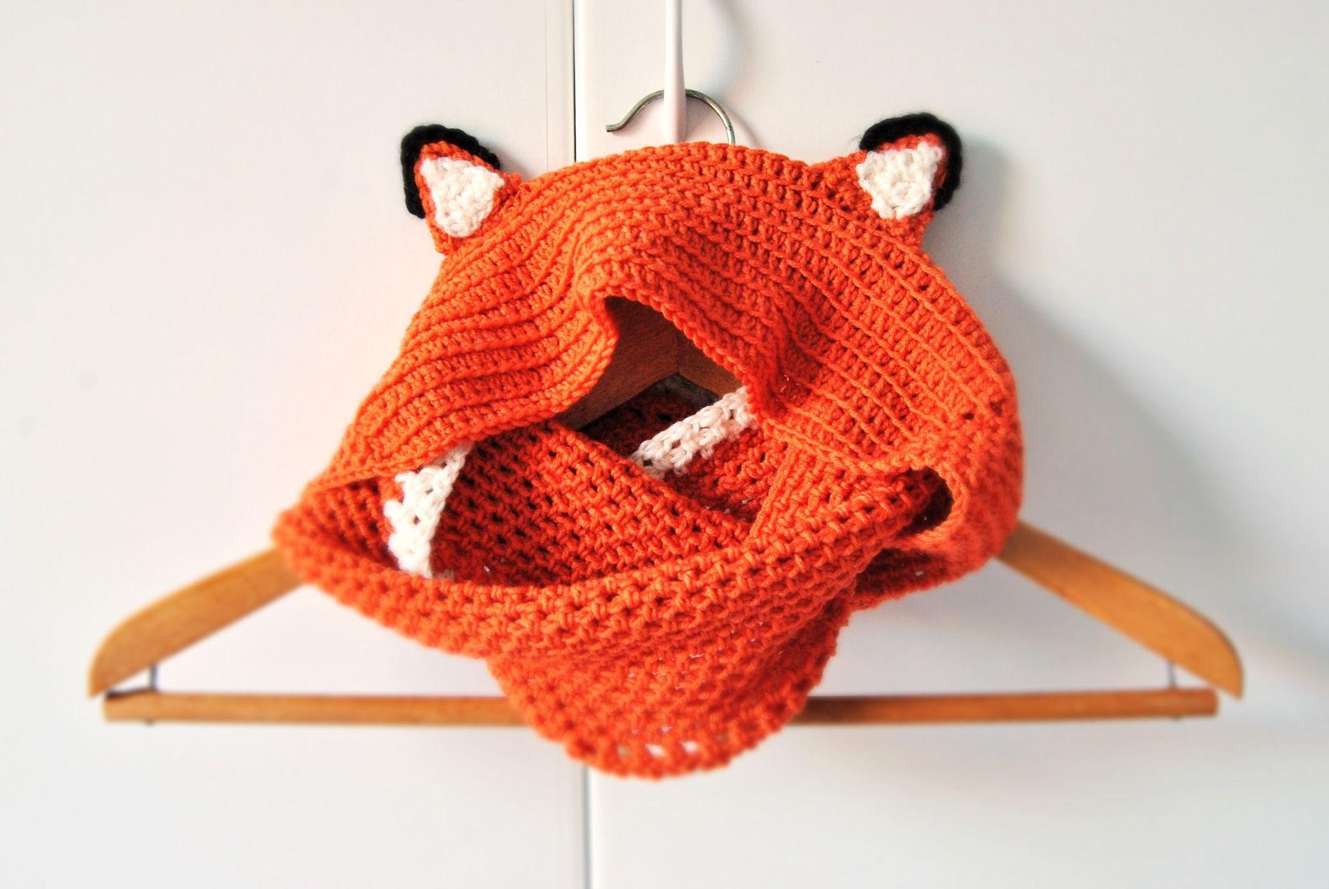 comprare a buon mercato acquisto economico nuovo massimo Scoodie sciarpa cappuccio volpe realizzato all'uncinetto ...
