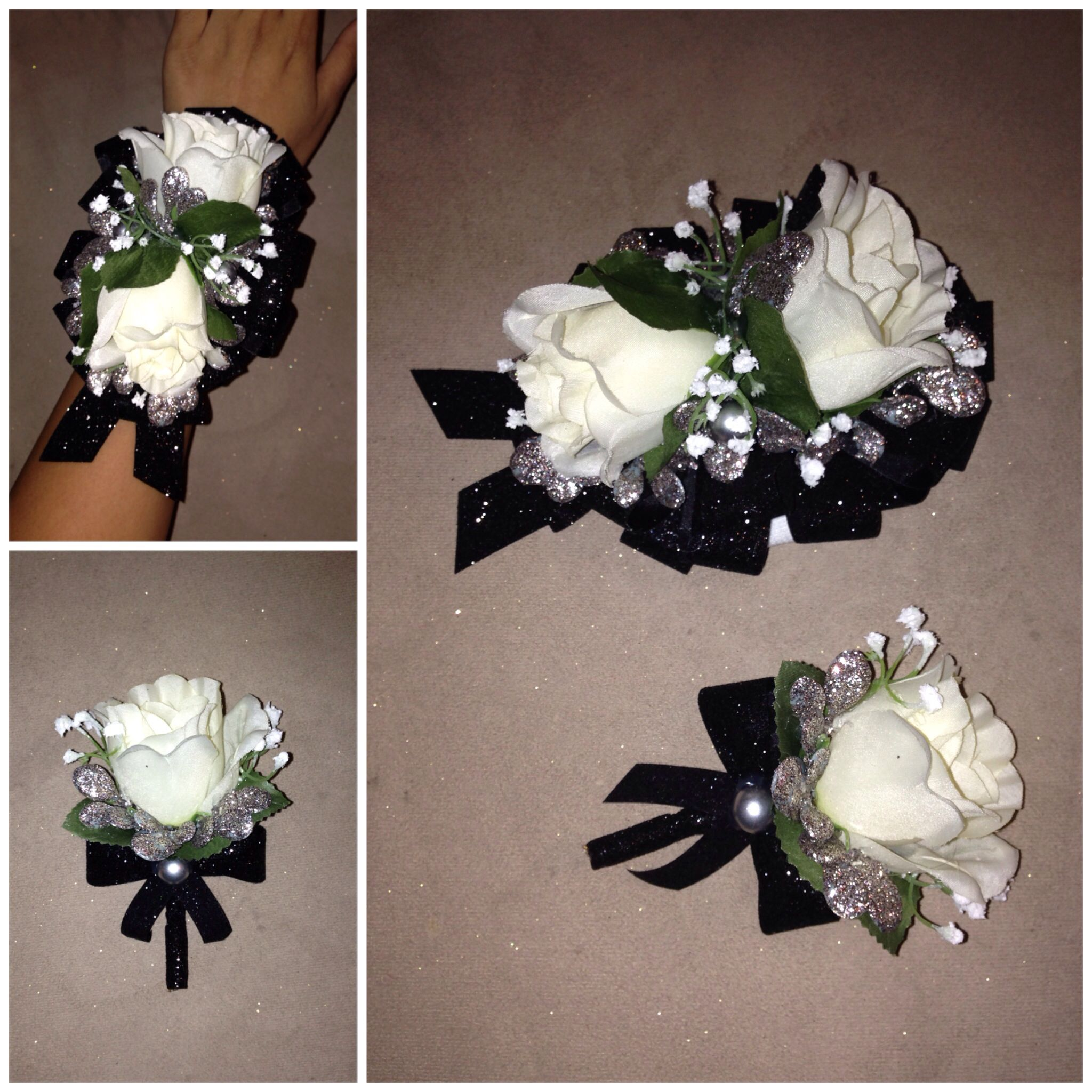 Diy Prom Dance Formal Artificial Corsage Boutonniere White