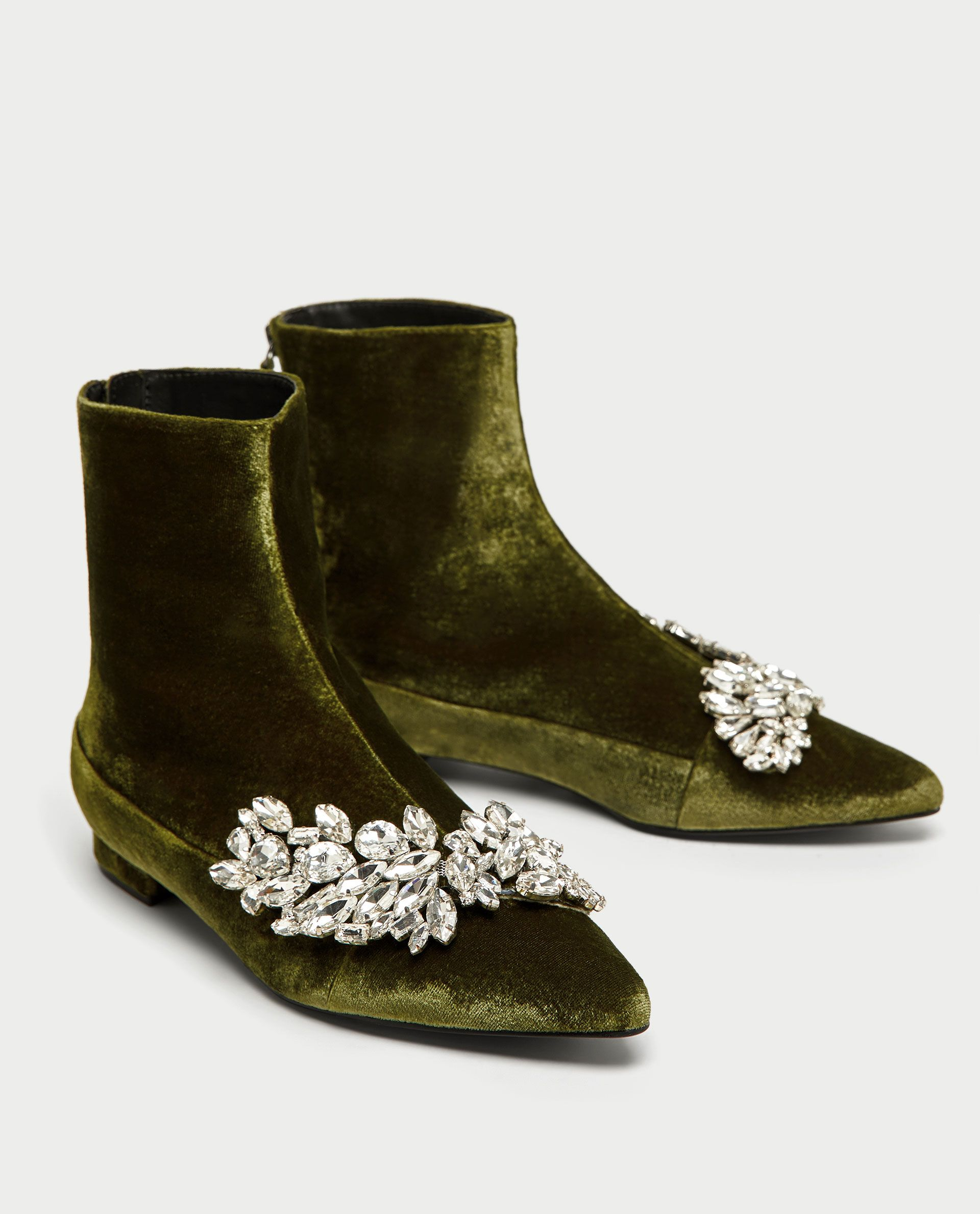 FLAT VELVET ANKLE BOOTS WITH GEM DETAIL - SHOES | ACCESSORIES-SALE-WOMAN
