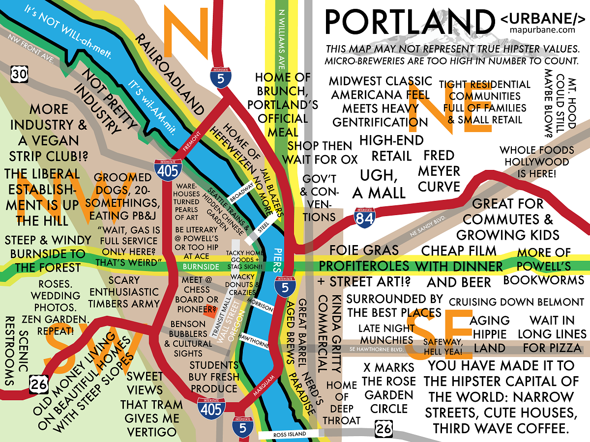 Map Outlines Stereotypes Of Portland Neighborhoods  Maps