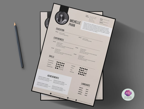 Modern CV template cover letter template by ChicTemplates