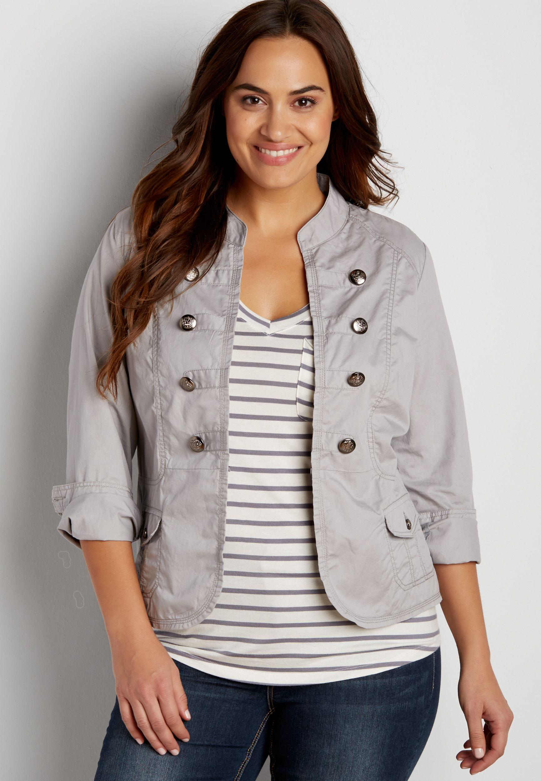 1e786cb5688cb plus size military blazer in silver gray | Cute Clothes & Shoes in ...