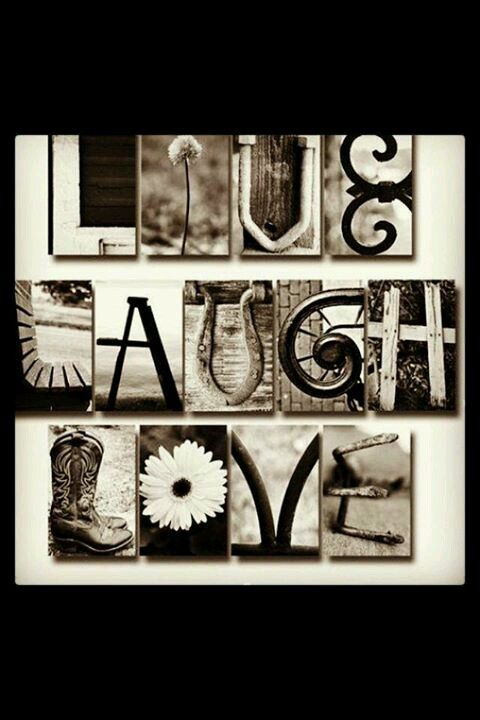 Letter Made Out Of Objects.Live Laugh Love Letters Made Of Of Objects Photos In Black And White