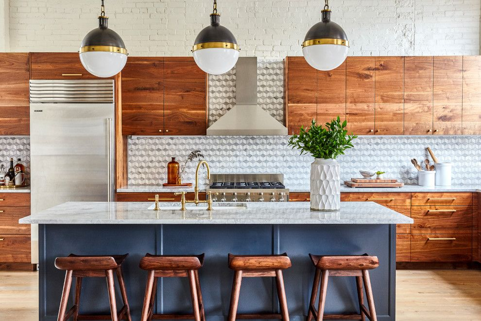Mid Century Modern Wood Blue Kitchen New Kitchen Cabinets Walnut Kitchen Cabinets Kitchen Inspirations