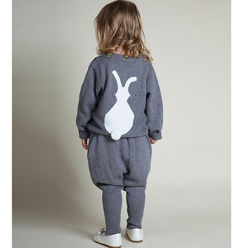 New 2017 Knitting Wool Suit Winter Spring Girls Clothes 0-5Yrs Kids Sweaters Fashion Boys Clothes Little Rabbit Embroidered