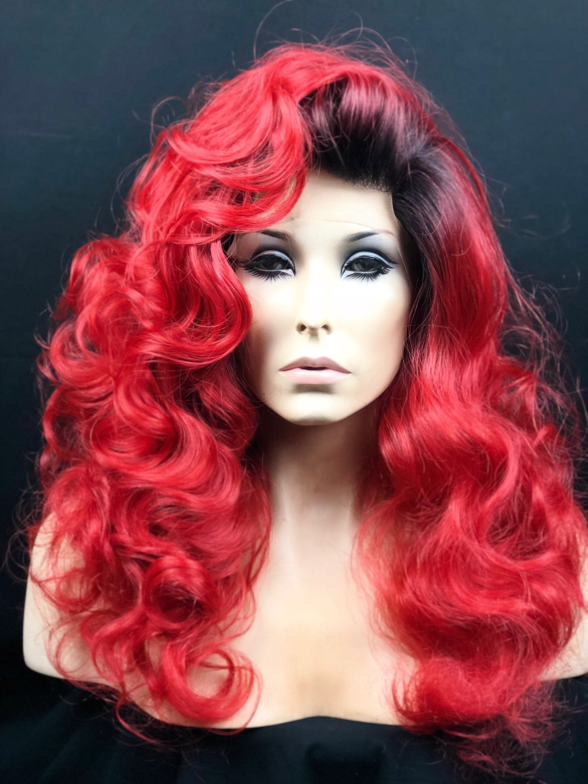 fiery fire red wig brazen