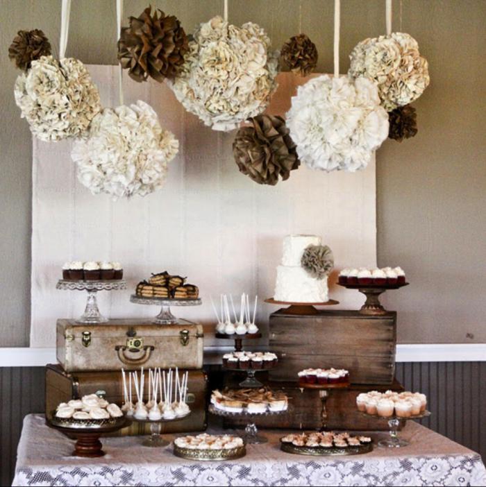 Dekoration selber machen geburtstag  pompoms selber basteln diy dekoration geburtstag vintage stil ...